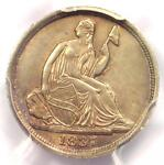 1837 SEATED LIBERTY HALF DIME H10C  NO STARS    PCGS UNCIRCULATED  UNC MS