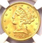 1902 S LIBERTY GOLD HALF EAGLE $5 COIN   NGC MS65    IN MS65   $2 750 VALUE