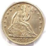 1854 O SEATED LIBERTY HALF DOLLAR 50C   CERTIFIED PCGS AU DETAILS    DATE