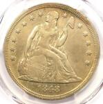 1848 SEATED LIBERTY SILVER DOLLAR $1   PCGS XF DETAILS    DATE   LOOKS AU