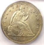 1842 SEATED LIBERTY SILVER DOLLAR $1   ICG AU50 DETAILS    EARLY DATE COIN