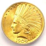1909 S INDIAN GOLD EAGLE $10 COIN   CERTIFIED ICG MS62  UNC BU    $2 810 VALUE