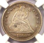 1890 SEATED LIBERTY QUARTER 25C   CERTIFIED NGC XF DETAIL  EF     DATE COIN