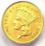 1857 S THREE DOLLAR INDIAN GOLD COIN $3   CERTIFIED ICG AU55   $7 940 VALUE