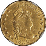 1806 CAPPED BUST POINTED 6 GOLD $5 NGC AU DETAILS OBV TOOLED