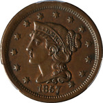 1857 LARGE CENT SMALL DATE PCGS AU58 N 2 R.2 GREAT EYE APPEAL STRONG STRIKE