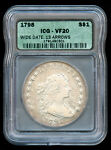 1798 DRAPED BUST SILVER DOLLAR $1 LARGE EAGLE WIDE DATE 13 ARROWS ICG VF 20