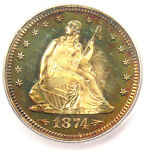 1874 ARROWS PROOF SEATED LIBERTY QUARTER 25C COIN   ICG PR66   $8 310 VALUE