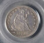 1853 25C ARROWS AND RAYS SEATED LIBERTY QUARTER  OGH  PQ  AU50 PCGS