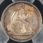 1837 SEATED LIBERTY HALF DIME PCGS MS64 NO STARS LARGE DATE