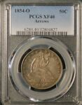 SILVER 1854 O SEATED HALF DOLLAR GRADED PCGS XF40 DIE CRACK VARIETY