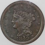 1849 1/2C LARGE DATE BRAIDED HAIR C 1 HALF CENT NGC MS 64 BN