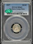 1837 H10C NO STARS LARGE DATE LIBERTY SEATED HALF DIME PCGS MS63  CAC