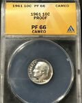 1961 PROOF ROOSEVELT DIME ANACS PF66 CAMEO   NICE CONTRAST