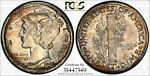 1943 D TONED MERCURY DIME   PCGS MS67  PLUS FB   COLORFUL TONING & TRUEVIEW