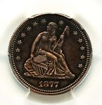 1877 PROOF SEATED LIBERTY SILVER QUARTER PCGS PR55 LOW 510 MINTAGE ATTRACTIVE