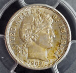 1908 UNITED STATES. BEAUTIFUL SILVER BARBER DIME COIN. PCGS MS 62