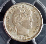 1906 UNITED STATES. BEAUTIFUL SILVER BARBER DIME COIN. PCGS MS 62