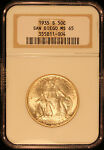 1935 S 50C SAN DIEGO SILVER COMMEMORATIVE NGC MS65