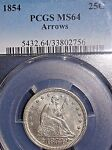 1854 25C ARROWS LIBERTY SEATED QUARTER PCGS MS64 DIE CRACKS/CLASHING  MINT ERROR