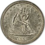 1859 O NO MOTTO SEATED LIBERTY QUARTER 25C NGC AU55