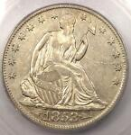 1853 O ARROWS RAYS SEATED LIBERTY HALF DOLLAR 50C   ICG AU50   $840 VALUE