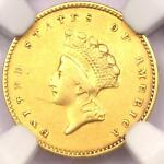 1855 TYPE 2 INDIAN GOLD DOLLAR G$1 COIN   CERTIFIED NGC XF DETAIL    DATE