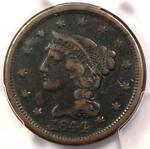1844/81 BRAIDED HAIR LARGE CENT 1C   CERTIFIED PCGS VF DETAILS    VARIETY