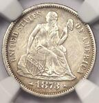1873 ARROWS SEATED LIBERTY DIME 10C   NGC AU DETAILS    DATE COIN