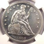 1863 PROOF SEATED LIBERTY SILVER DOLLAR $1   NGC PROOF DETAILS PR/PF