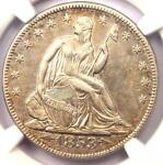 1853 ARROWS & RAYS SEATED LIBERTY HALF DOLLAR 50C   CERTIFIED NGC AU DETAILS