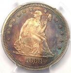1868 SEATED LIBERTY QUARTER 25C   PCGS UNCIRCULATED DETAILS UNC MS BU