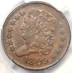 1809 CLASSIC HEAD HALF CENT 1/2C   PCGS UNCIRCULATED DETAIL  UNC MS     COIN