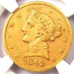 1849 C LIBERTY GOLD HALF EAGLE $5   NGC XF DETAILS    CHARLOTTE GOLD COIN