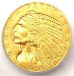 1908 D INDIAN GOLD HALF EAGLE $5 COIN   CERTIFIED ICG MS64   $2 630 VALUE