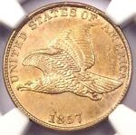1857 FLYING EAGLE CENT 1C S 18   NGC UNCIRCULATED DETAILS  UNC MS     PENNY