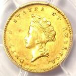 1855 TYPE 2 INDIAN GOLD DOLLAR  G$1 COIN    CERTIFIED PCGS AU DETAIL    DATE