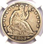 1853 O ARROWS & RAYS SEATED LIBERTY HALF DOLLAR 50C   CERTIFIED NGC VF DETAILS