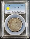 SILVER 1876 SEATED LIBERTY HALF DOLLAR PCGS VG10 GOOD CLASSIC 50C U.S. COIN