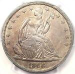 1866 S NO MOTTO SEATED LIBERTY HALF DOLLAR 50C   PCGS AU DETAILS    COIN