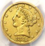1855 C LIBERTY GOLD HALF EAGLE $5   PCGS VF DETAILS    CHARLOTTE GOLD COIN