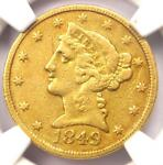 1849 C LIBERTY GOLD HALF EAGLE $5   NGC VF DETAILS    CHARLOTTE GOLD COIN