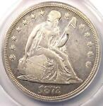 1872 SEATED LIBERTY SILVER DOLLAR $1 COIN   CERTIFIED ANACS XF45 DETAILS  EF45
