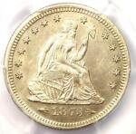 1873 ARROWS SEATED LIBERTY QUARTER 25C   PCGS UNCIRCULATED DETAILS  UNC MS BU