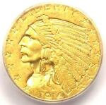 1914 INDIAN GOLD QUARTER EAGLE $2.50 COIN   CERTIFIED ICG MS62   $1 220 VALUE