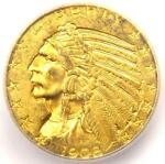 1908 INDIAN GOLD HALF EAGLE $5 COIN   ICG MS63    IN MS63   $1 030 VALUE