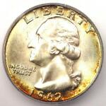 1962 D WASHINGTON QUARTER 25C   CERTIFIED ICG MS67   $2 030 GUIDE VALUE IN MS67