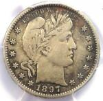1897 S BARBER QUARTER 25C COIN   CERTIFIED PCGS XF DETAILS  EF     DATE