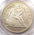 1872 S SEATED LIBERTY SILVER DOLLAR $1 COIN   ANACS AU50 DETAILS    DATE