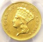 1870 THREE DOLLAR INDIAN GOLD COIN $3   CERTIFIED PCGS AU DETAILS    DATE